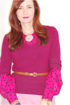 magenta sweater - hot pink vintage from Ebay blouse - bubble gum warehouse skirt