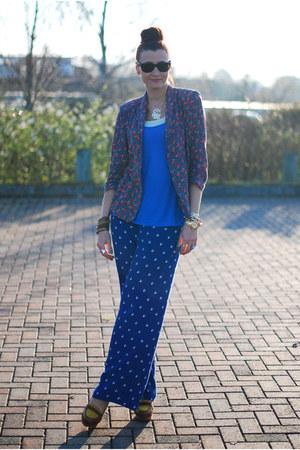 blue asos pants - navy River Island blazer - sky blue FF top