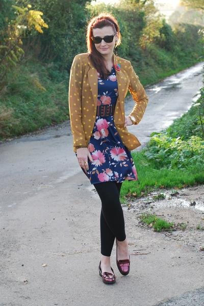 navy floral vintage from Ebay dress - mustard polkadot asos blazer