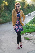 navy floral vintage from Ebay dress - mustard polkadot asos blazer