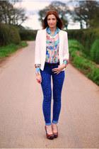 vintage shirt - asos jeans - Wallis blazer - asos heels - Debenhams necklace
