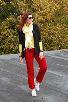yellow asos sweater - red Very jeans - black La Redoute jacket - asos scarf