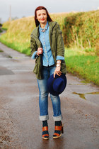 navy polkadot Topshop socks - dark khaki La Redoute coat - blue Miss Sixty jeans