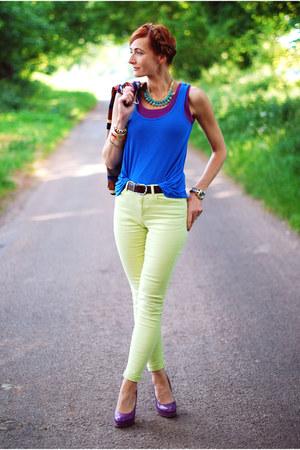 amethyst next t-shirt - blue FF t-shirt - lime green Reiss jeans