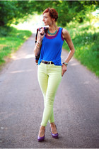 amethyst next t-shirt - blue FF t-shirt - lime green Reiss jeans
