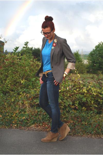 grey next jacket - skinny jeans Gap jeans - geek asos glasses