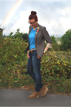 grey next jacket - skinny jeans Gap jeans - geek asos glasses