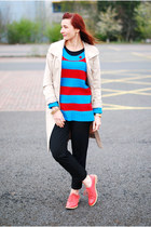 sky blue asos sweater - off white Ellen Tracy coat - black Topshop pants