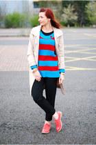 sky blue asos sweater - off white Ellen Tracy coat - black Topshop pants