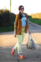 mustard polkadot asos blazer - light yellow asos jeans - beige Debenhams bag