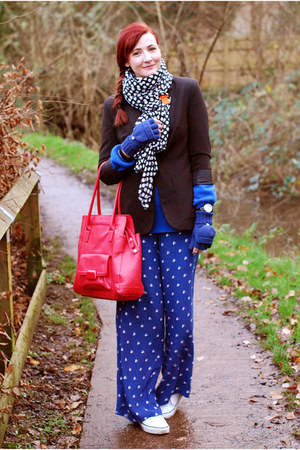 La Redoute jacket - polkadot asos scarf - jasper conran bag - Oasis pants