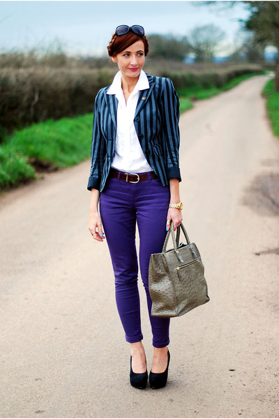 gray Very blazer - deep purple asos jeans - white asos shirt