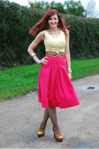 light yellow worn as top thrifted vintage dress - hot pink asos skirt