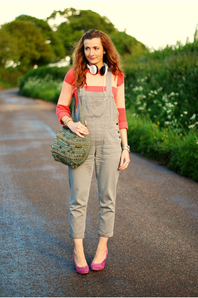 heather gray dungarees asos romper - light orange striped FF sweater