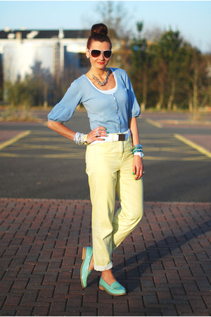 aquamarine patent asos loafers - light yellow asos jeans - white asos sunglasses