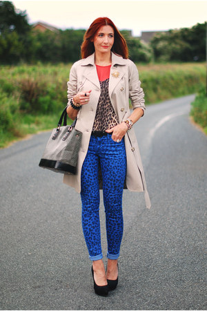 nude trench coat Laura Ashley coat - blue leopard print asos jeans