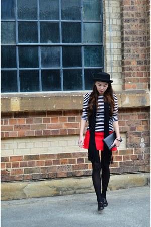 black wool Zara coat - black bowler hat Topshop hat - stripes Zara top