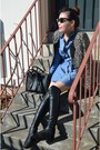 Black-knee-high-boots-stuart-weitzman-boots-blue-shirt-dress-muji-dress