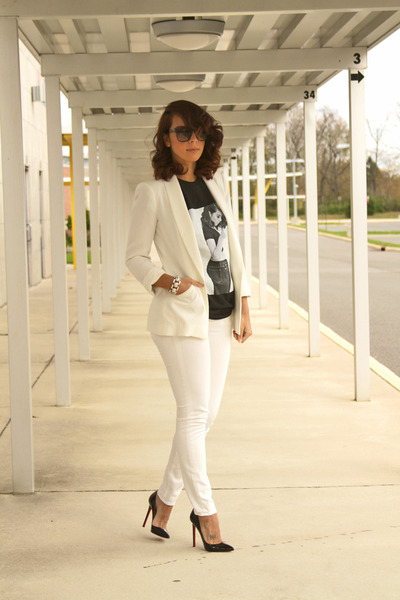 graphic tee Liz Beth t-shirt - casual white Comm Ca jeans