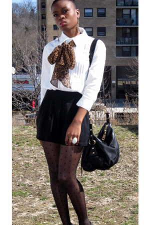 black Aldo shoes - ivory Forever 21 shirt - black hm tights - black Forever 21 s