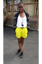 black Forever 21 sweater - yellow Forever 21 shorts - white Forever 21 top - bla