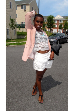 light pink H&M blazer - black American Apparel purse - off white H&M shorts - bl