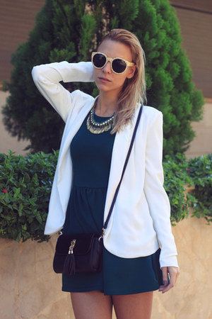 white Vero Moda blazer - teal H&M dress - tan Zara heels