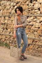 Parfois necklace - sky blue pull&bear jeans - tan Zara sweater