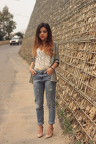 olive green H&M blouse - sky blue pull&bear jeans - neutral H&M shirt
