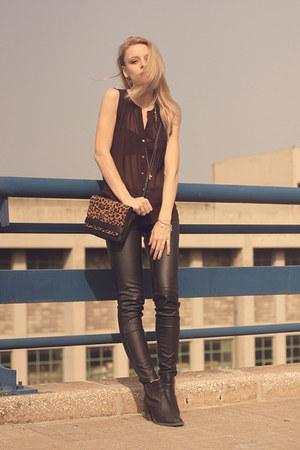 H&M boots - H&M jacket - Stradivarius bag - H&M pants - H&M blouse