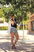 white Vero Moda blazer - light blue H&M shorts - navy top