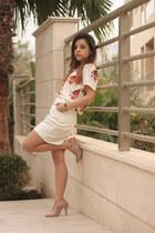 ivory Vero Moda blazer - ruby red Topshop shirt - ivory H&M skirt