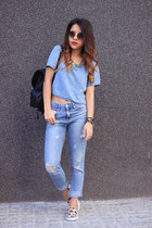 sky blue H&M top - light orange H&M shoes - sky blue pull&bear jeans