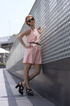 pink H&M dress - black H&M heels - black H&M belt