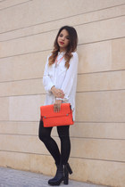 black H&M leggings - carrot orange Parfois bag - white H&M blouse