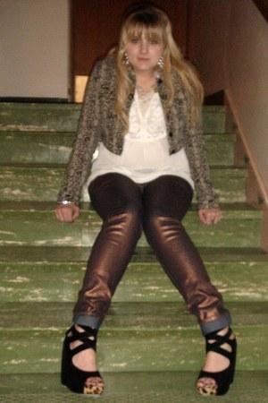 off white chiffon top - dark brown mettallic jeans