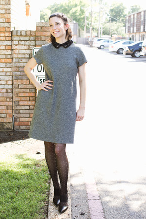 charcoal gray Loft dress - black Forever 21 tights