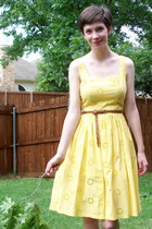 yellow dress - dark brown belt