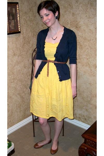 a1d9d6faa20 yellow thrifted dress - navy cardigan - brown belt