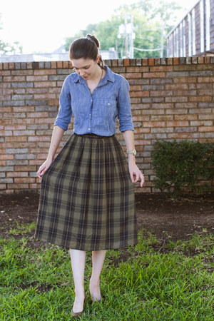 olive green Old Navy skirt - sky blue Forever 21 shirt - olive green heels