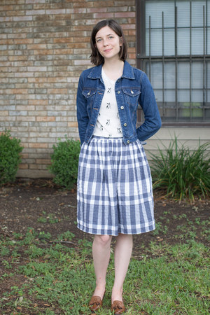 white Forever 21 shirt - navy Tommy Hilfiger skirt - brown loafers