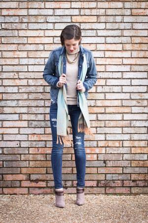 denim Gap jacket - American Eagle jeans - beige Forever 21 sweater
