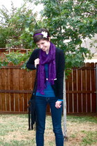 deep purple scarf - black cardigan - white belt - turquoise blue blouse