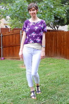 white jeans - purple blouse