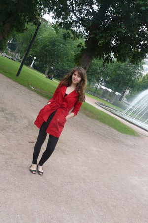 red Bershka coat - black Bershka leggings - black H&M shoes