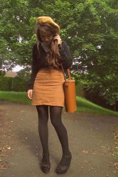 mustard vintage bag - white H&M shirt - mustard vintage skirt