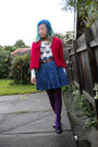 Beige-sweater-red-jacket-blue-skirt-brown-belt-purple-target-australia-t