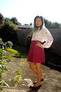 White-hanae-mori-blouse-pink-skirt-purple-mossimo-shoes