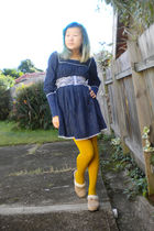 blue Rebecca Taylor dress - gold Pamela Mann tights - beige Union Bay shoes - wh