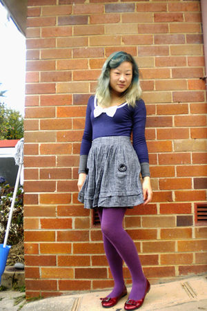 blue Temt top - silver Sunny Girl skirt - purple Target Australia tights - red g